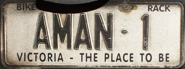 AMAN-1 Bike rack plate. The legend \ The place to be\  in use 2001-13. & Olav\u0027s Australian number plates. (Text only version). License plates ...