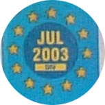 Belgium close-up of the EU-stars with month and year of expiry (7 kB)