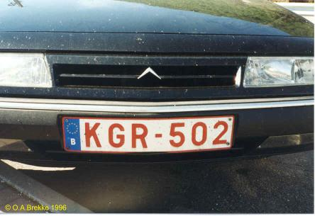 Belgium former normal series front plate with euroband KGR-502.jpg (24 kB)
