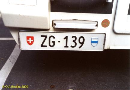 Switzerland normal series rear plate ZG·139.jpg (17 kB)