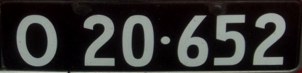 Denmark historically correct number plate close-up O 20·652.jpg (32 kB)