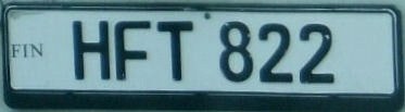 Finland normal series unofficial replacement plate close-up HFT 822.jpg (17 kB)