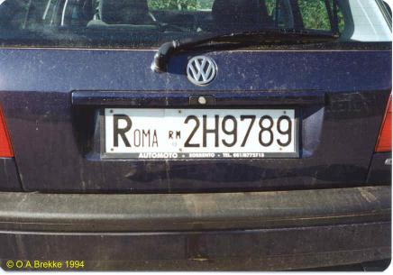 Italy former normal series rear plate ROMA 2H9789.jpg (24 kB)