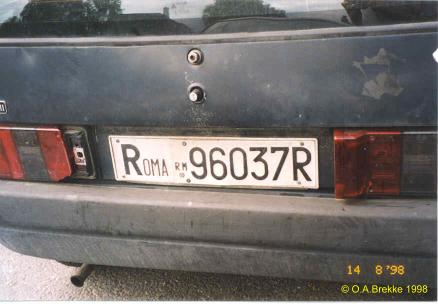 Italy former normal series rear plate ROMA 96037R.jpg (22 kB)